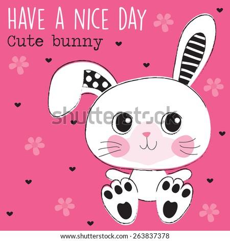 cute bunny vector illustration - stock vector