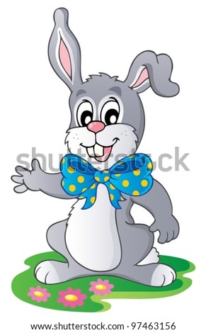 Cute bunny with big ribbon - vector illustration.