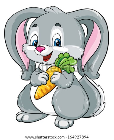 cute bunny with carrot on a white background, vector illustration - stock vector