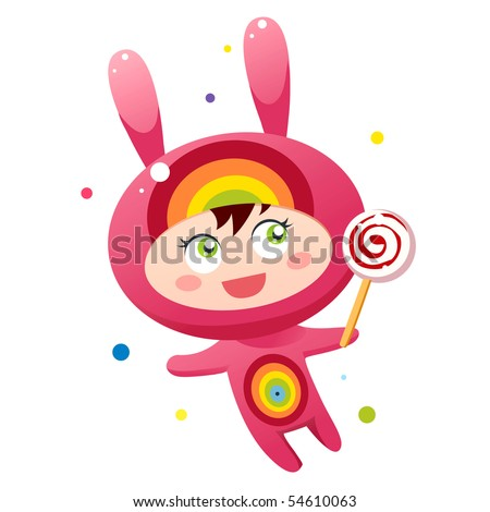 Cute bunny with lollipop - stock vector