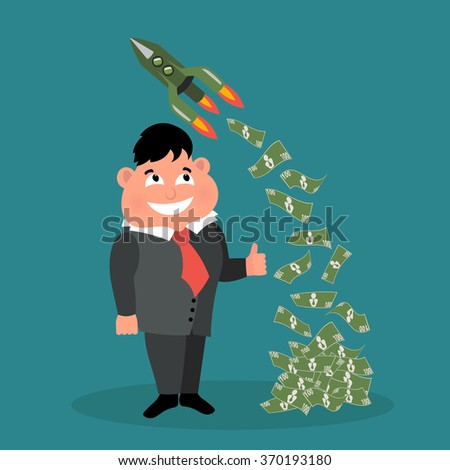 Cute businessman character in business concept of wealthy, rich, and being successful. Vector illustration