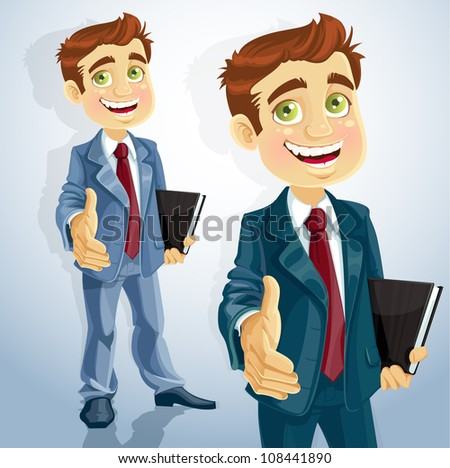 Cute businessman gives his hand to greet - stock vector