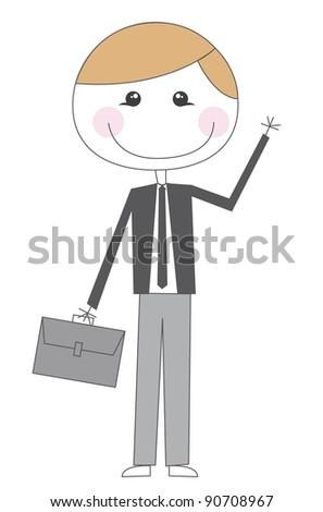 cute businessman with suit cartoon vector illustration - stock vector