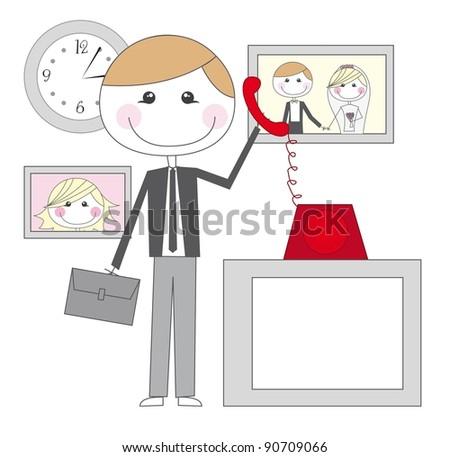 cute businessman with telephone cartoon vector illustration - stock vector