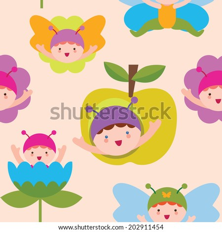 Cute butterfly babies seamless pattern - stock vector