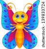 Cute butterfly cartoon - stock photo