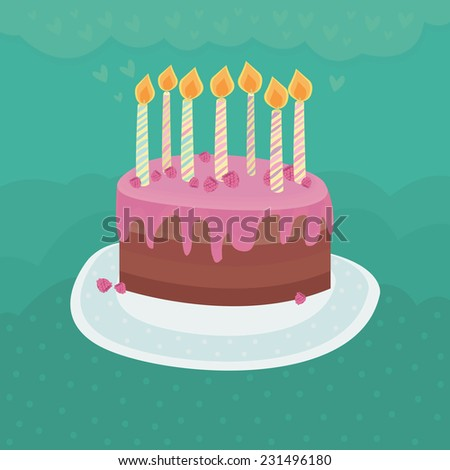 Cute cake  with fresh fruits isolated on mint background with polka dots and with hearts. Vector illustration .  - stock vector