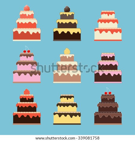 Cute Cakes. Wedding, Celebration, Birthday design element in flat style. Scrapbook set. - stock vector