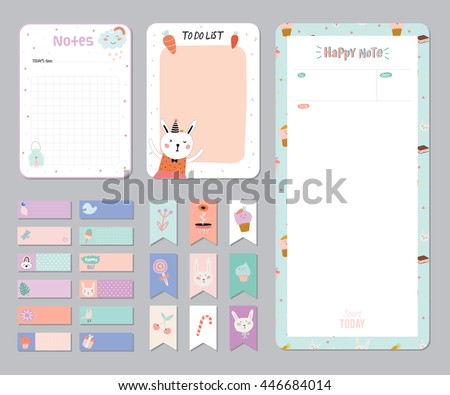 Cute Calendar Daily Weekly Planner Template Vector 446684017 – Daily Note Template