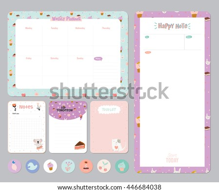 Cute Daily Calendar Do List Template Vector 483152275 – Daily Note Template