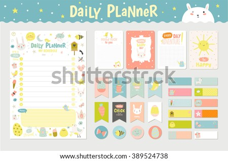 Scandinavian Weekly Daily Planner Template Organizer Stock Vector ...
