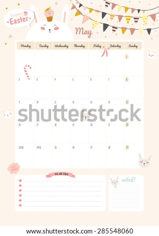 Cute Calendar Template  Beautiful Diary Stock Vector
