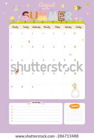 cute calendar template