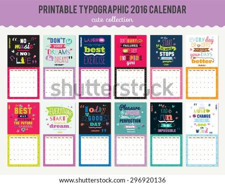 Cute Calendar Template 2016 Beautiful Diary Stock Vector 2018