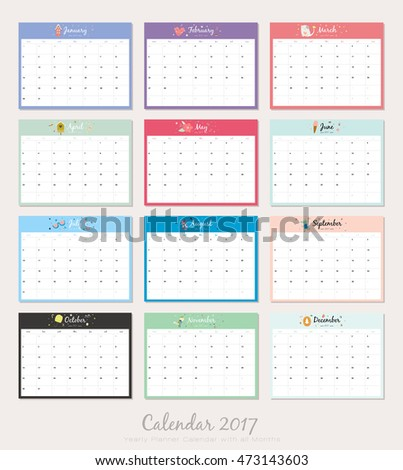 Cute Calendar Template  Yearly Planner Stock Vector Hd Royalty