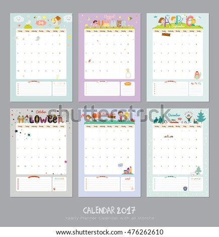 Cute calendar template 2017 yearly planner stock vector 476262610 cute calendar template for 2017 yearly planner calendar with all months good organizer and maxwellsz