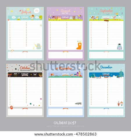Cute Calendar 2017 Template Happy Birthday Stock-Vektorgrafik ...