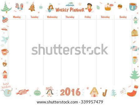 cute calendar weekly planner template 2016 stock vector royalty