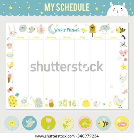 Cute Calendar Weekly Planner Template for 2016. Beautiful Diary with Vector Character and Funny Kids Illustrations. Spring Season Holidays Backgrounds. Organizer and Schedule with place for Notes - stock vector