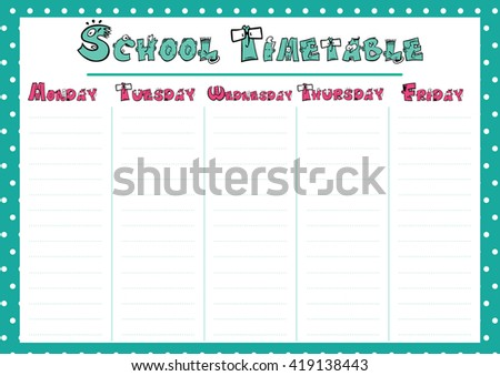 Cute Calendar Weekly Planner Template School Stock Vector