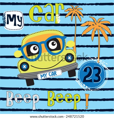 cute car with glasses vector illustration - stock vector