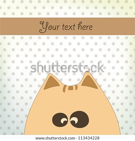 Cute card design with fun cat,vector - stock vector