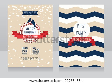 cute card for christmas with birds and chevron texture, vector illustration - stock vector