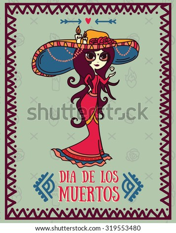 cute card for dia de los muertos, doodle sugar scull girl, vector illustration - stock vector