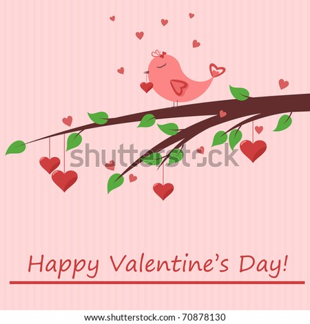 Cute card of Valentine's Day with bird in love on it - stock vector