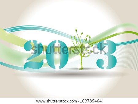 Cute card on New Year 2013 with green tree - stock vector