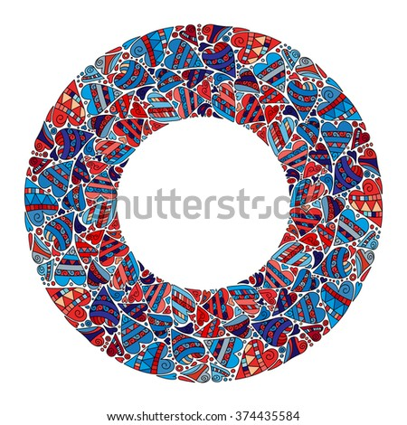 Cute card template in bright colors. Stylish romantic invitation card template with frame made of colorful doodle red and blue hearts on white background - stock vector