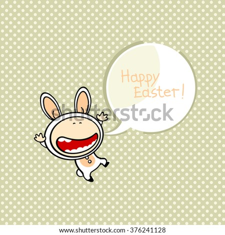 Cute card with an Easter bunny wishing you Happy Easter - stock vector