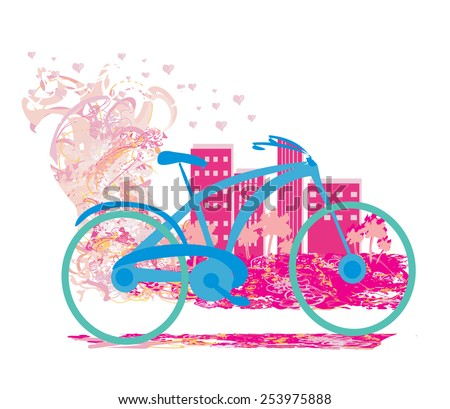 Cute card with bike. - stock vector
