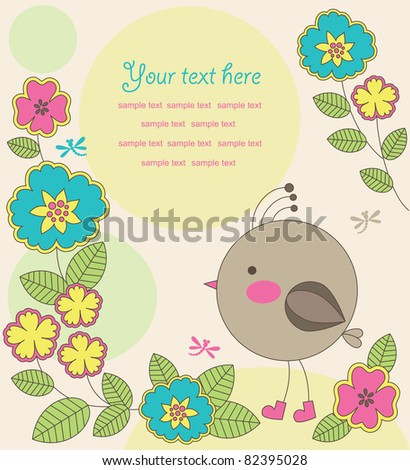 cute card with bird. vector illustration - stock vector