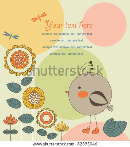 cute card with bird. vector illustration - stock vector