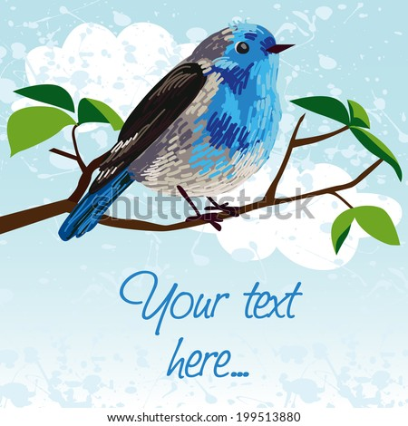 Cute card with birds and place for your text