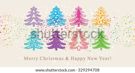 Cute card with Christmas trees.  - stock vector