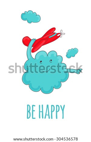 Cute card with cloud, which plays with a red plane - stock vector