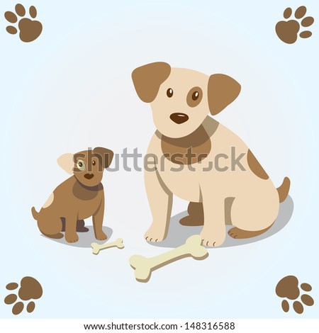 Cute card with dog and puppy