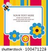 cute card with flowers. vector illustration - stock vector