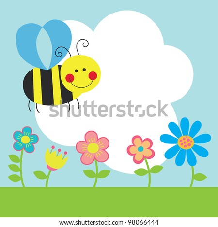 cute card with fun bee. vector illustration