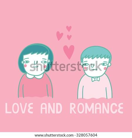 Cute card with  girl and boy in funny cartoon style. Love and romance illustration template in vector - stock vector