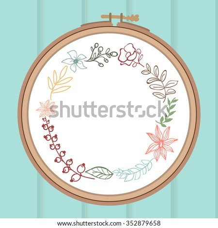 cute card with laurel flower bouquet on embroidery frame wooden background vector illustration - Embroidery Frame
