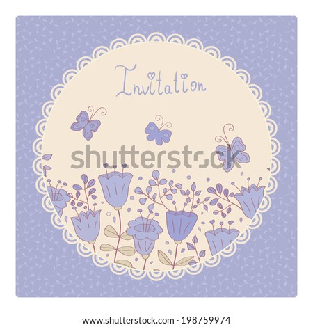 Cute card with lilac flowers and butterfly. Lilac background and white lace frame. Ideal for scrap booking, celebration card, invitation. - stock vector