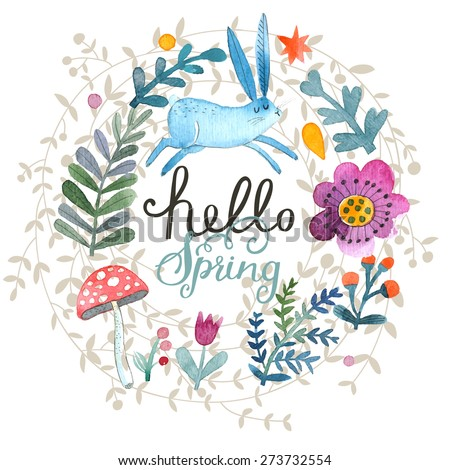 Cute card with lovely Rabbit, flowers, leafs and mushroom in awesome colors. Lovely spring theme set made in watercolor technique. Bright forest concept card with text in vector