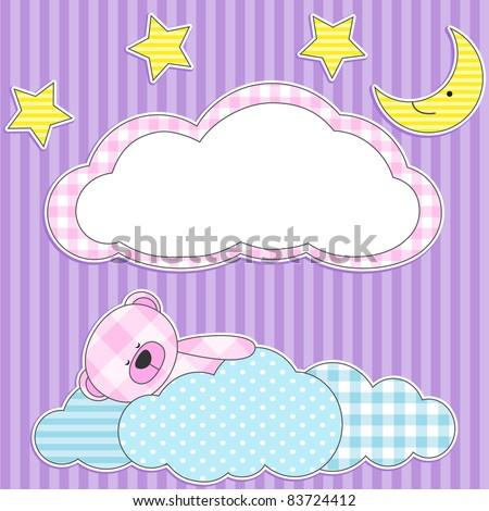Cute card with sleeping pink teddy bear for girl. - stock vector