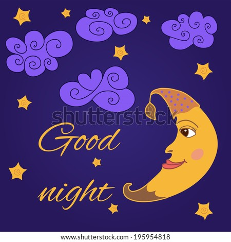 Cute card with smiling moon made in vector.