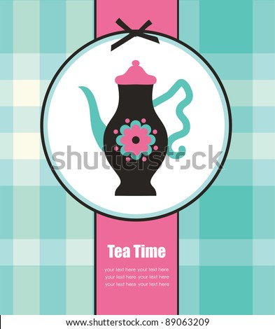 cute card with teapot. vector illustration - stock vector