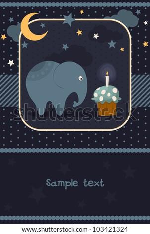 Cute card with the elephant. Vector illustration - stock vector