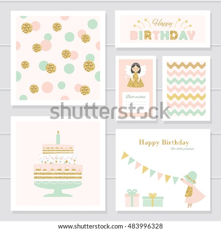 Cute cards with gold confetti glitter for girls. Can be used for baby shower, birthday, valentines day, party invitation. For print and web. Pastel colors.